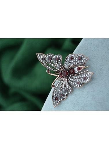 Stoneage Kelebek Broş Yaka İğnesi Yakut Taşlı Kırmızı